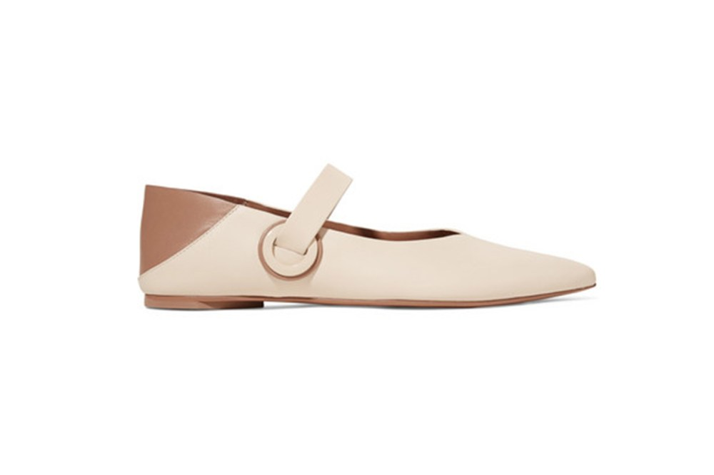 Mercedes Castillo Amabel Two-Tone Leather Collapsible-Heel Point-Toe Flats