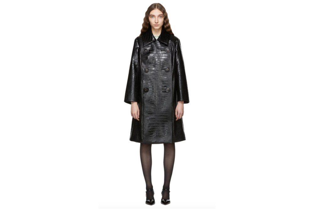 Miu Miu Black Croc Leather Double-Breasted Trench Coat