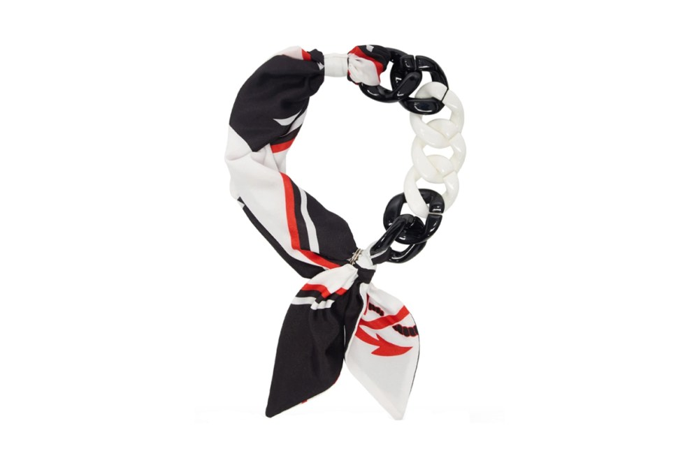 MSGM White & Black Chain Scarf Necklace