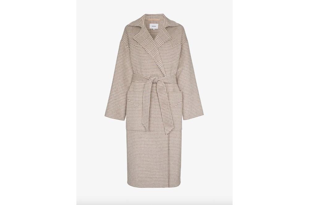 Nanushka Alamo Dogtooth Wool And Silk-Blend Wrap Coat