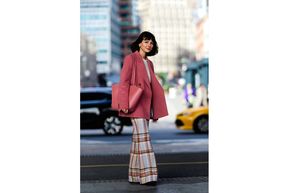 Pink Blazer Checked Trousers