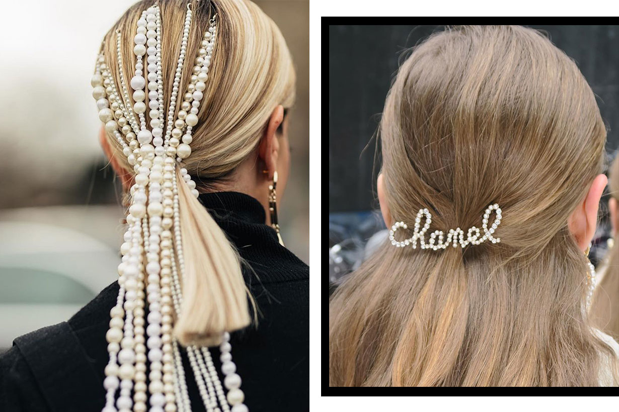 Chanel Pearl hair clips style 2019