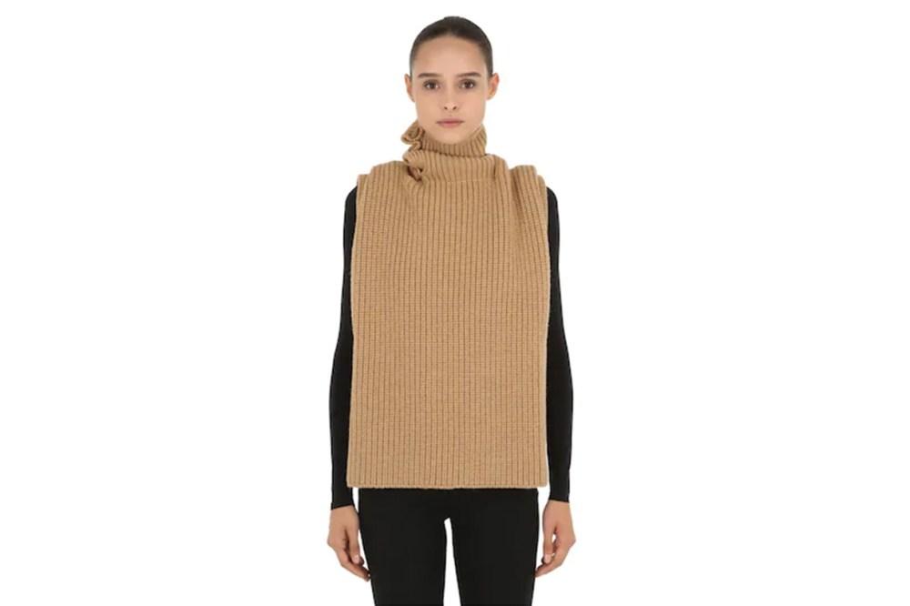 Raf Simons Wool Rib Knit Tertleneck Vest