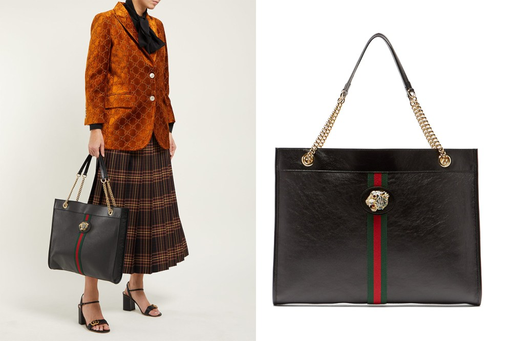 Gucci Rajah Web-Striped Leather Tote Bag