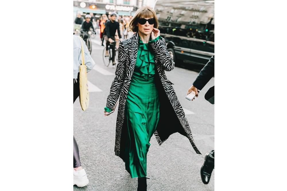 Anna Wintour Silk Dress Street Style