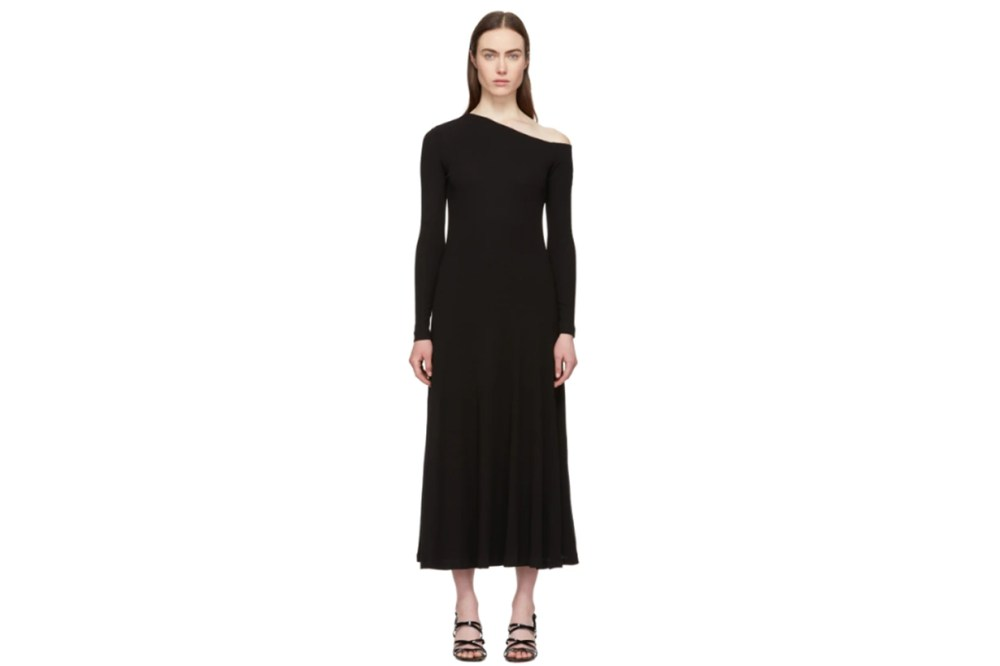 Rosetta Getty Black Off-Shoulder Flare Dress