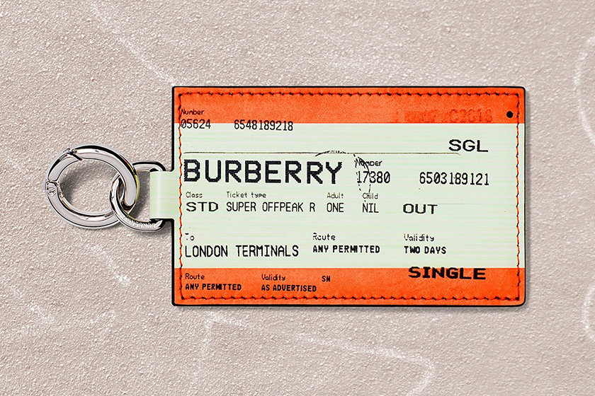 burberry b series train ticket keyring