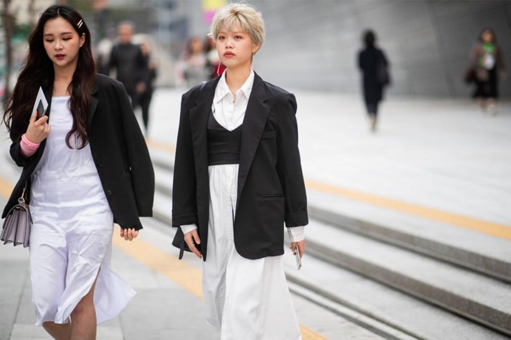 Shirt Dress Blazer Korean Girl Street Style