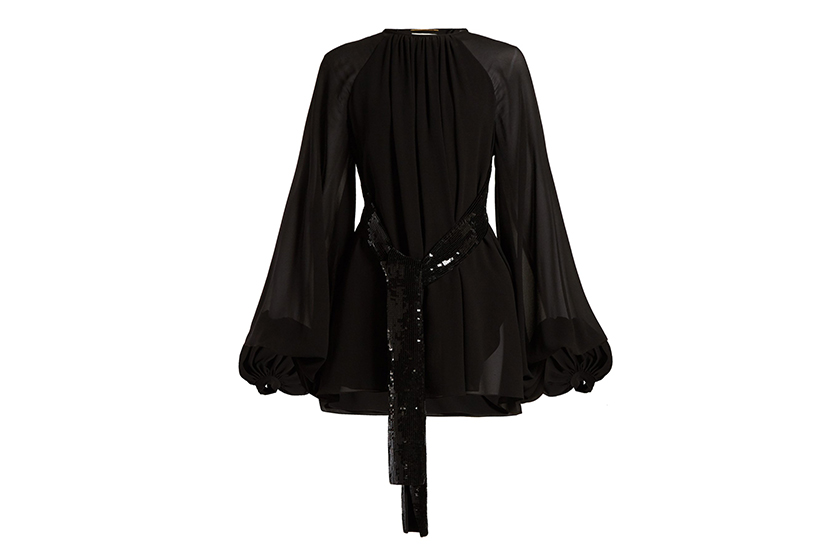 Saint Laurent Sequinned-Belt Silk Georgette Mini Dress
