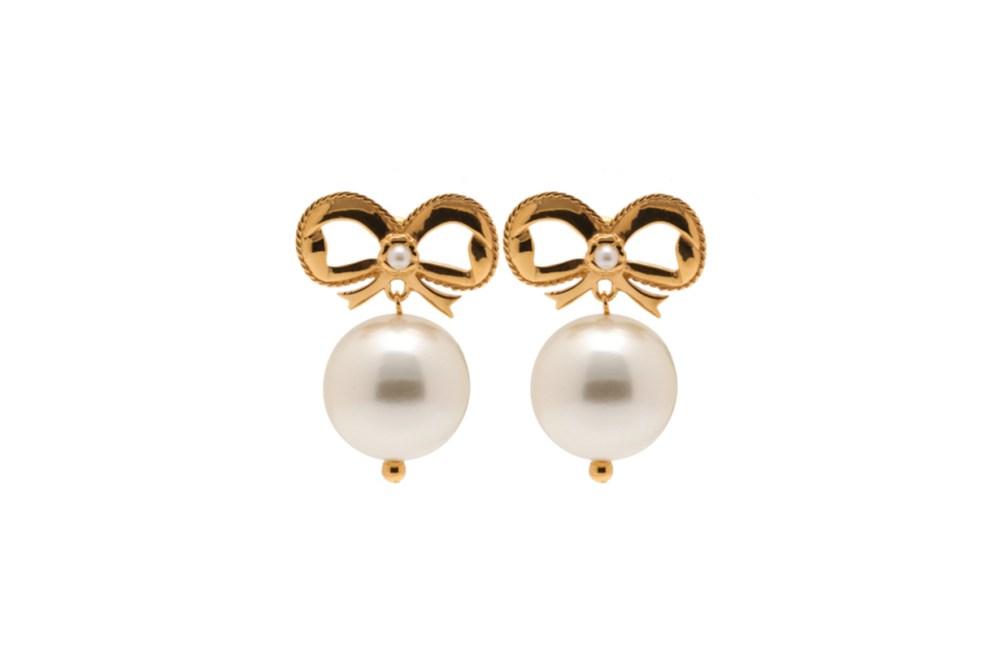 Simone Rocha Bow Detail Faux Pearl Earrings