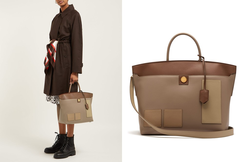 Burberry Society Panelled Leather Tote Bag