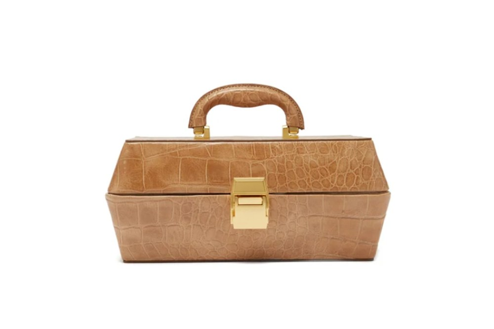 Staud Lincoln Crocodile-effect Leather Box Bag
