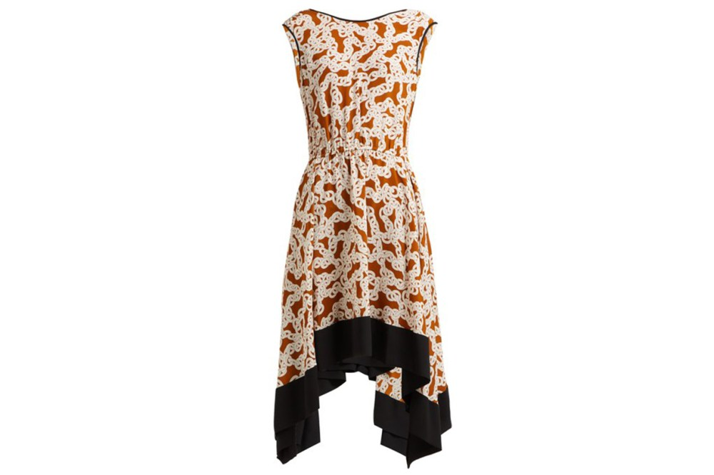 Diane Von Furstenberg Talis Chain-Print Sleeveless Silk Dress