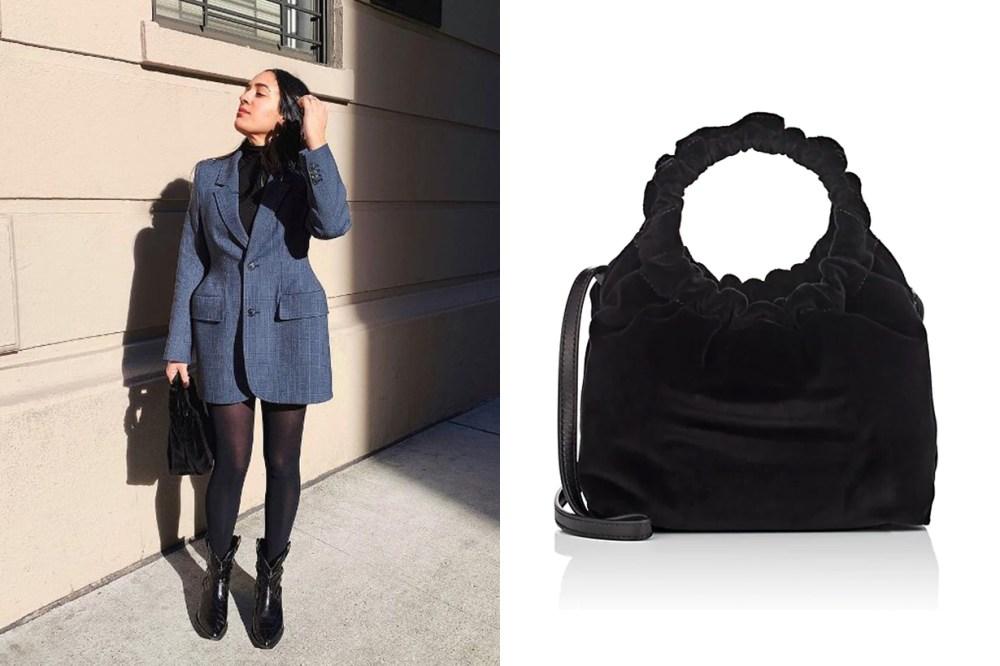 The Row Double-Circle Small Velvet Bag