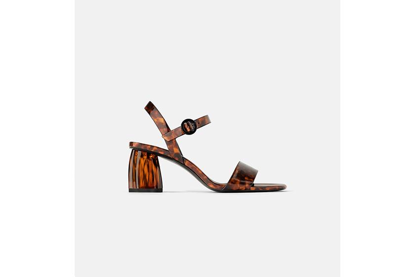 Zara Tortoiseshell Chunky Heel Sandals