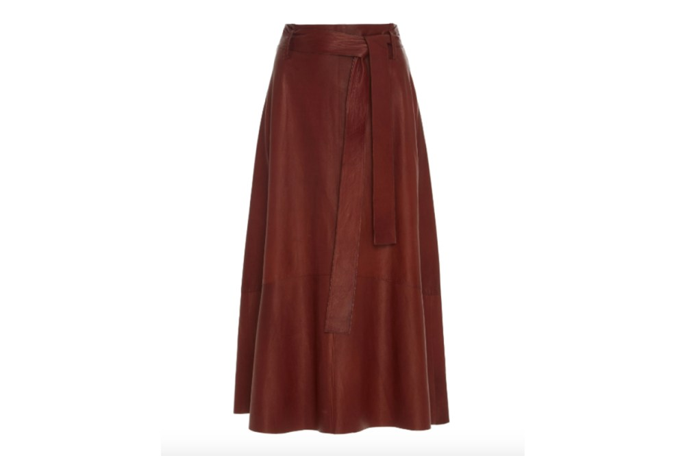 Vince High-Waisted Lamb Leather Midi Skirt