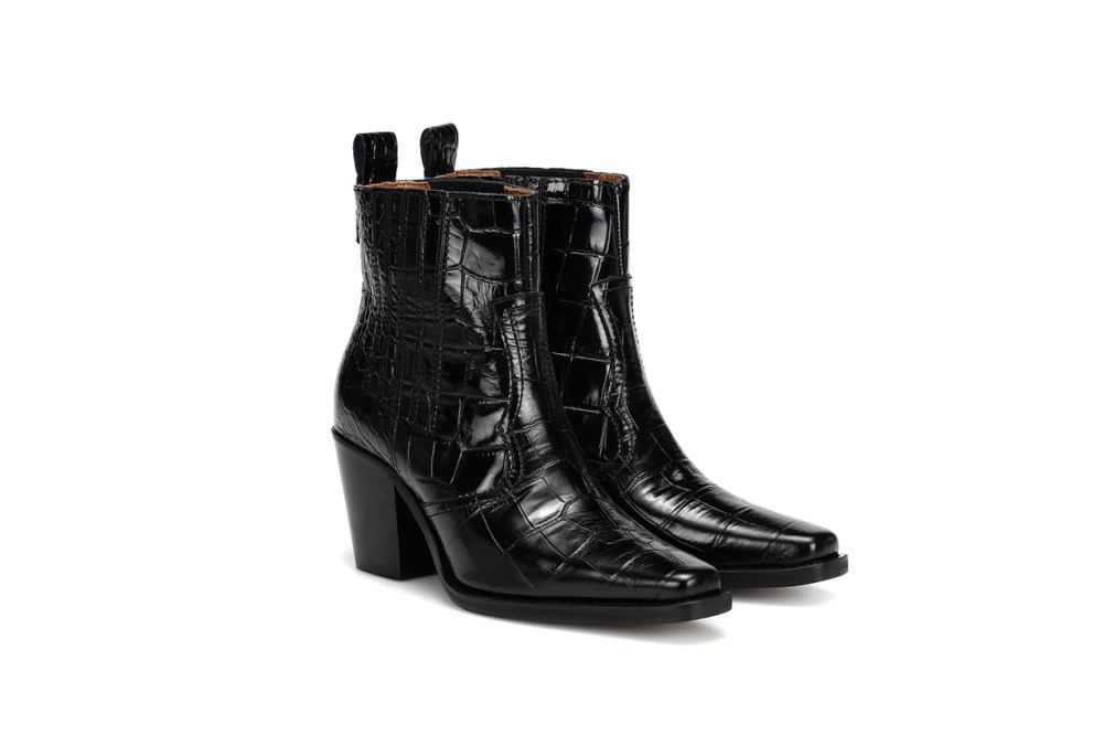 Western Embossed Leather Boots
