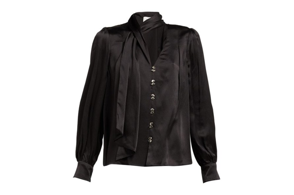 AJE Astrid Neck Scarf Hammered Silk Blouse