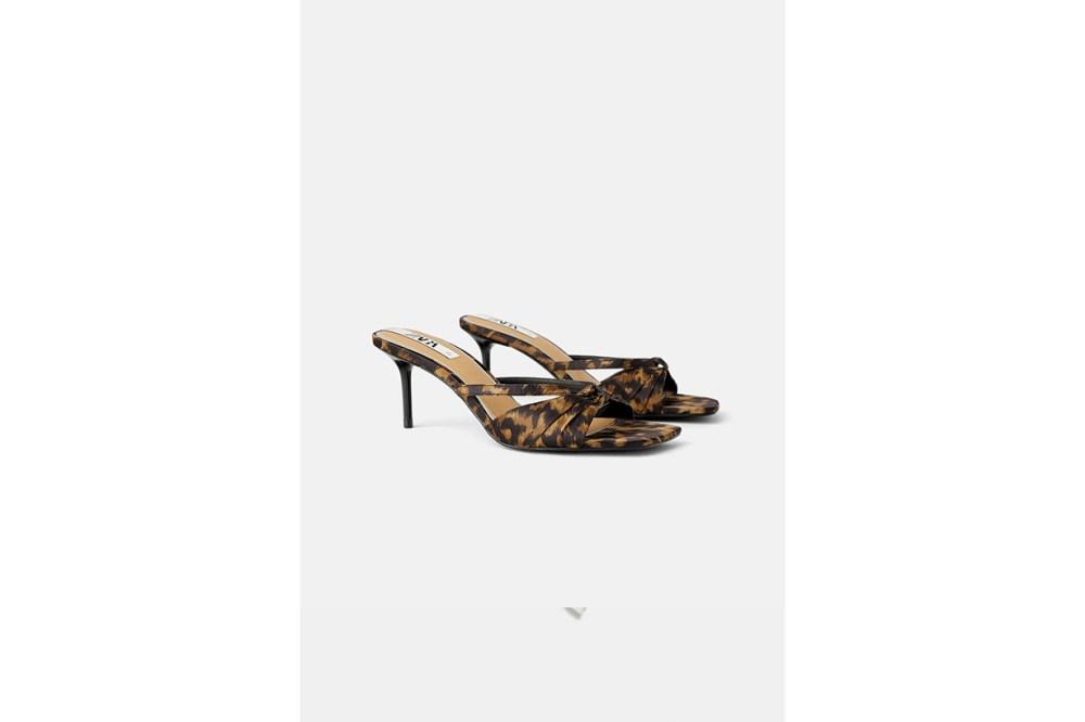 Zara Animal Print Mid-Heel Sandals