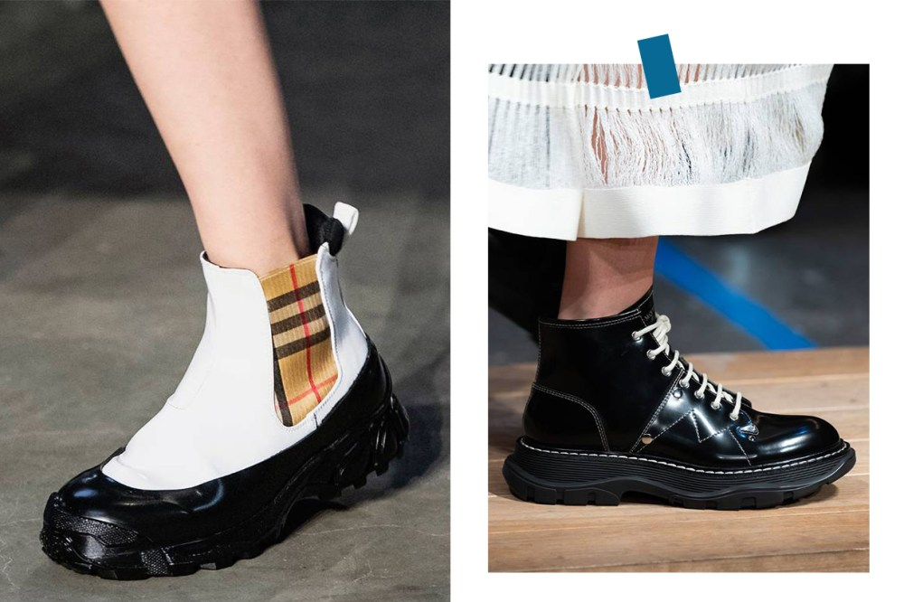 heavy rubber-soled ankle boots runway Alexander McQueen Burberry