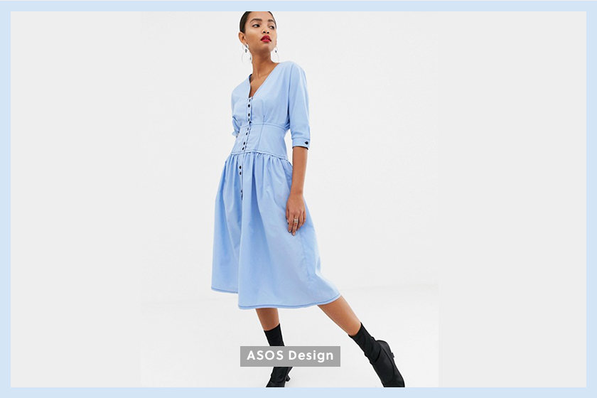 ASOS DESIGN cotton midi dress light blue