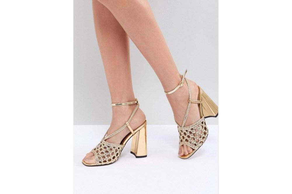 ASOS DESIGN Helix Woven Block Heeled Sandals