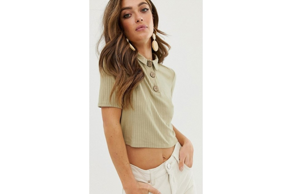 ASOS DESIGN Polo Neck T-Shirt in Textured Fabric with Buttons