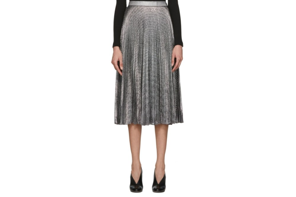 Christopher Kane Black & Silver Lamé Mesh Pleated Skirt