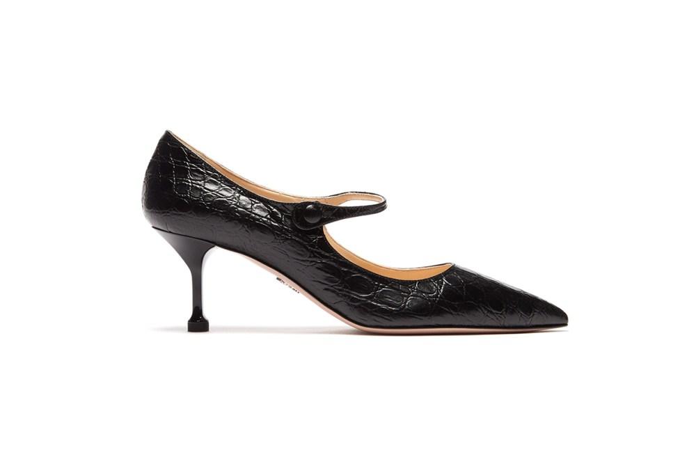 Prada Crocodile-Effect Leather Mary Jane Pumps