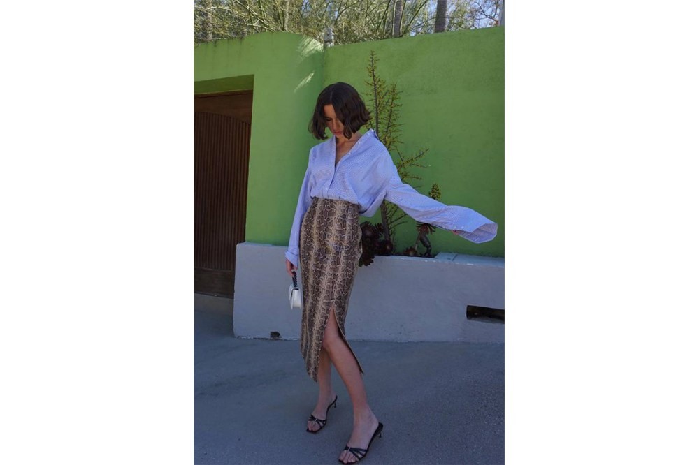 Shirt Tuck Silk Skirt Instagram Influencer