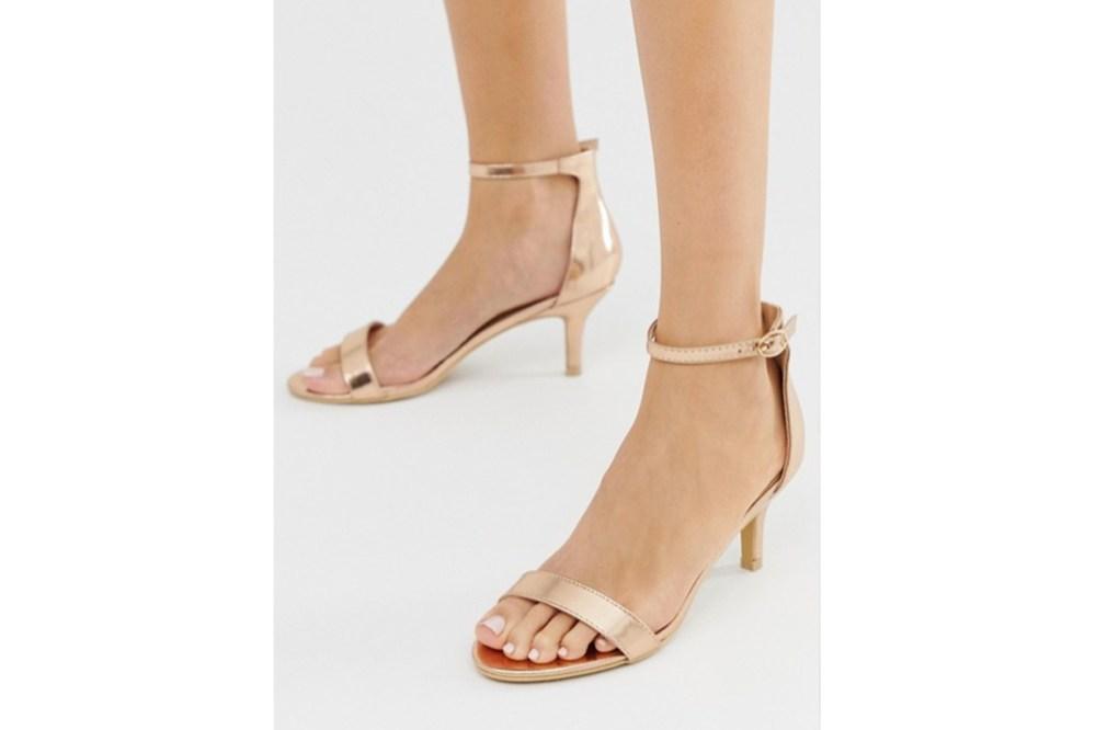 Glamorous Rose Gold Kitten Heel Sandals