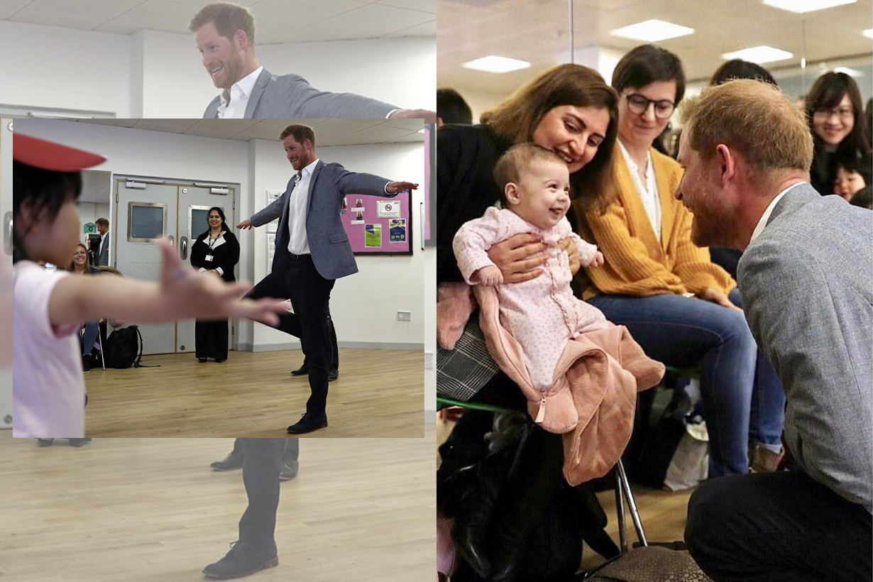 Prince Harry Showing Off His Ballet Skills to a Bunch of Kids