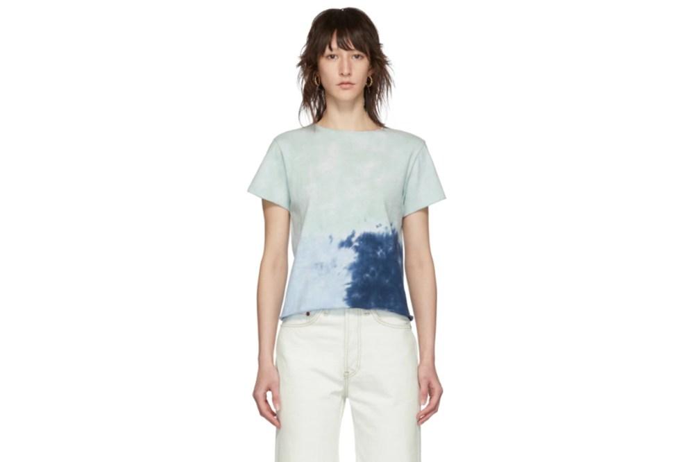 Re/Done Green & Blue Classic Roll Hem T-Shirt