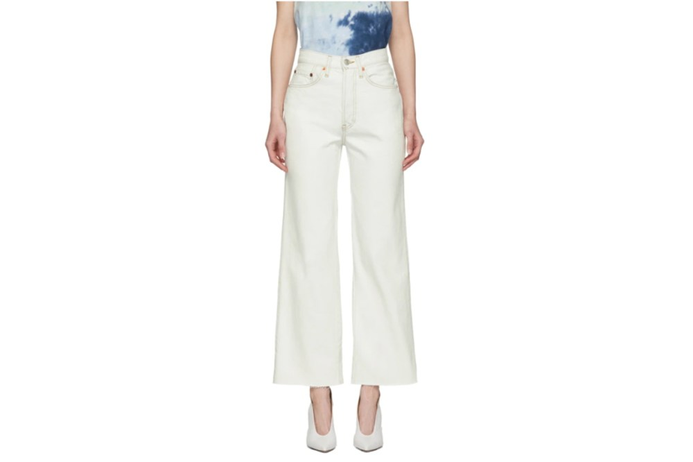 Re/Done White Wide Leg Crop Jeans