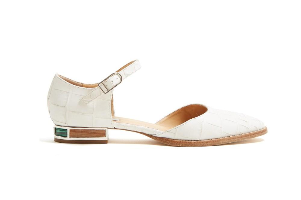 Gabriela Hearst Riley Crocodile-Effect Leather Flats