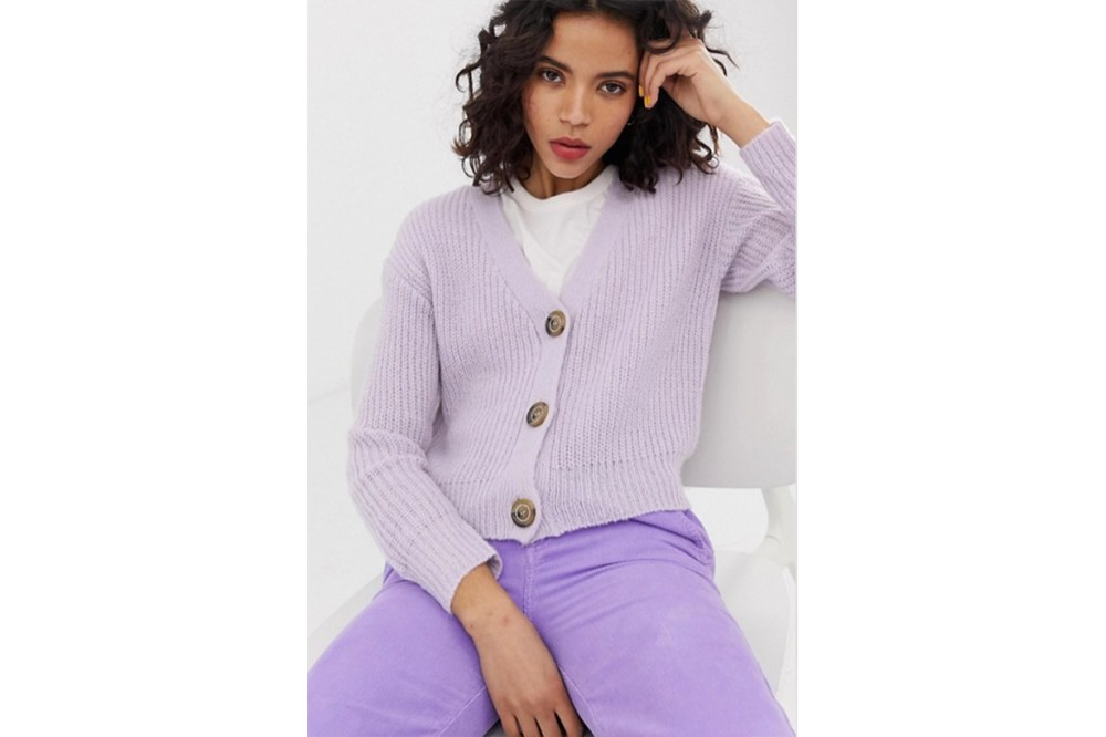 ASOS River Island Cardigan With Jewelled Buttons in Lilac