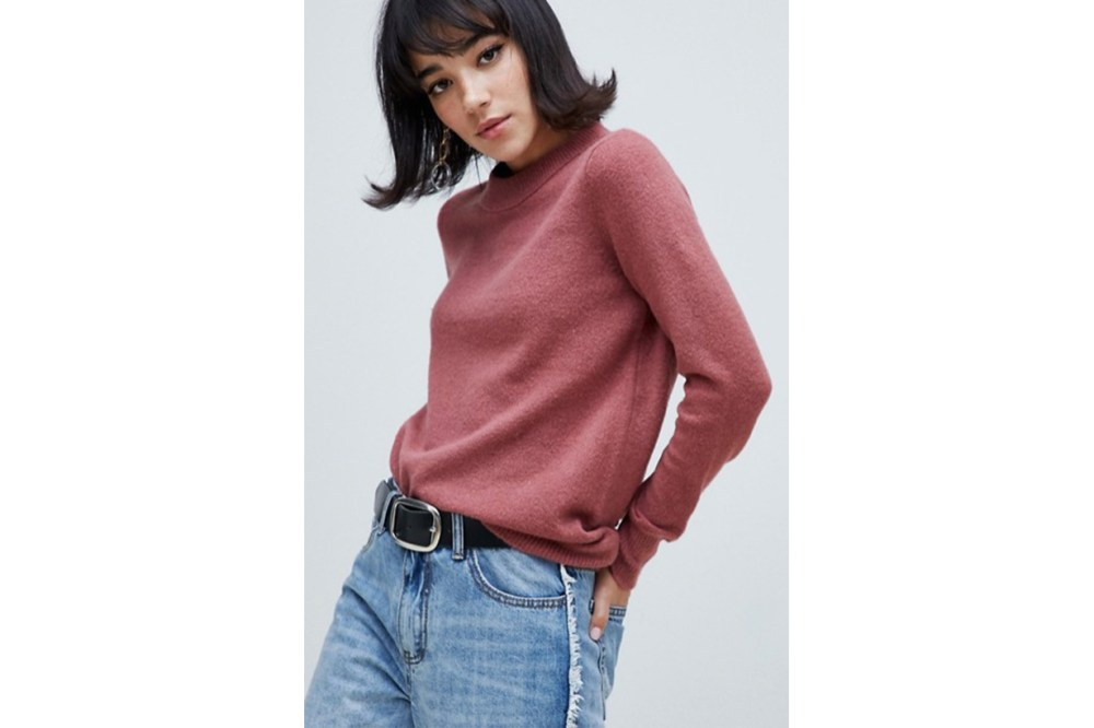 River Island Kumper with Crew Neck in Pink
