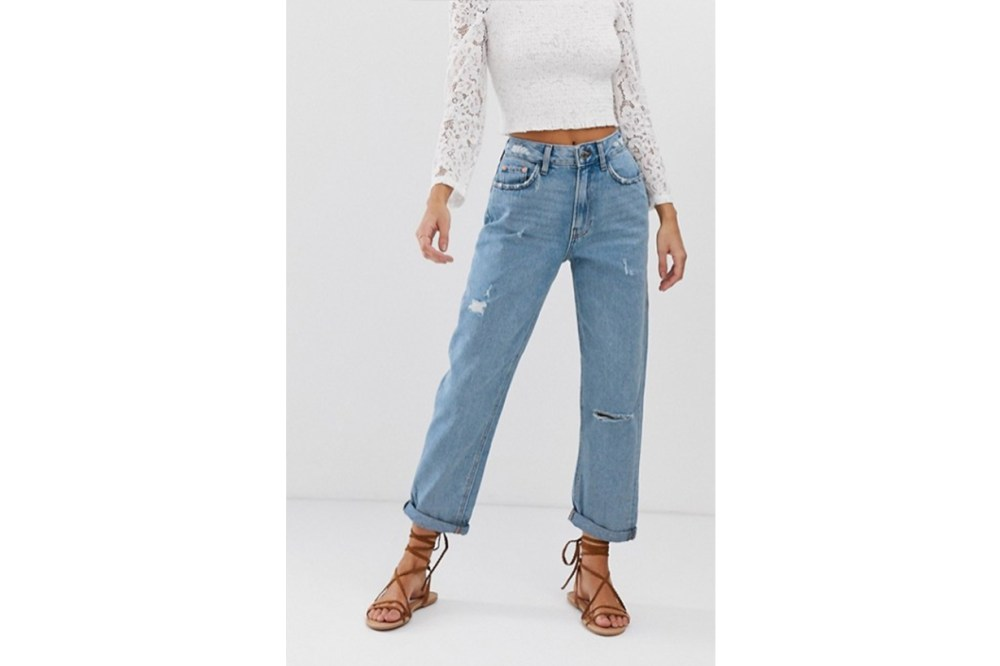 River Island Mom Jeans in Mid Wash