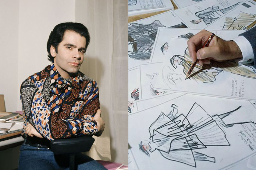 karl lagerfeld fashion drawings already to bid