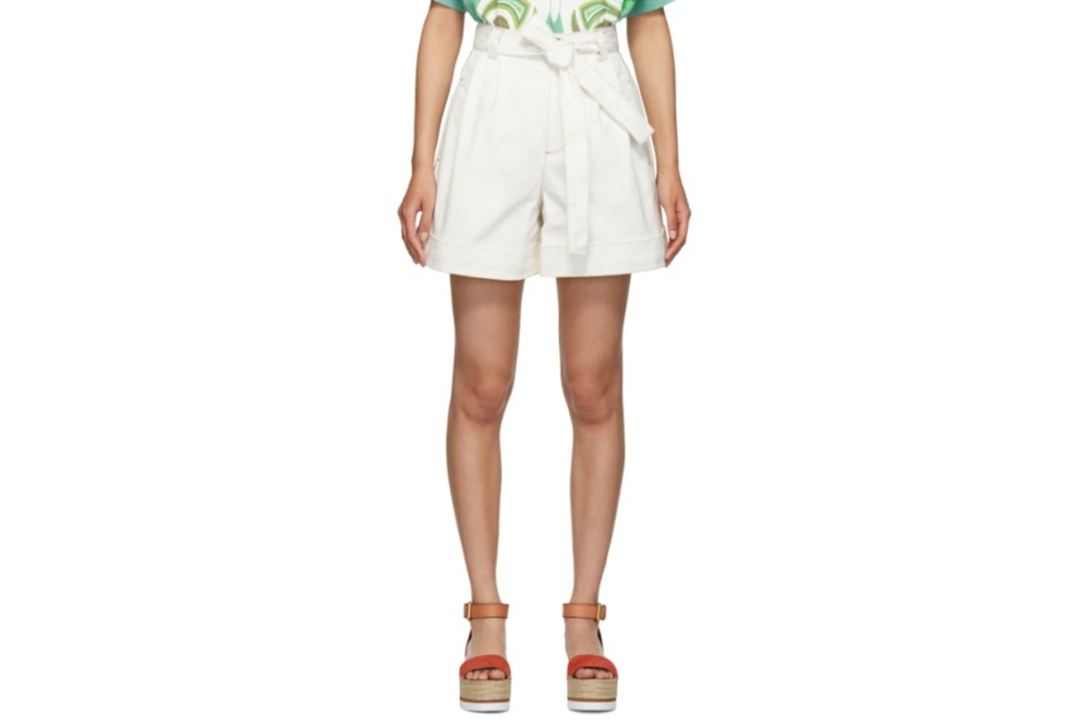 See-by-Chloé-White-Denim-Tie-Shorts