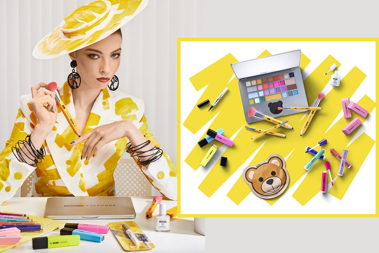 Sephora Moschino Crossover collection cosmetics makeup Pencil Brush Set makeup sponge highlighter laptop eyeshadow palette marker lipsticks nail polish eyeliner mask