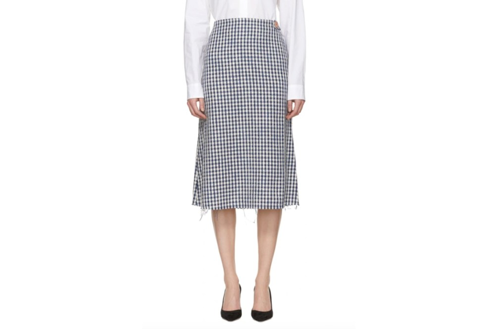 Simon-Miller-Blue-&-White-Cotton-Fitted-Skirt