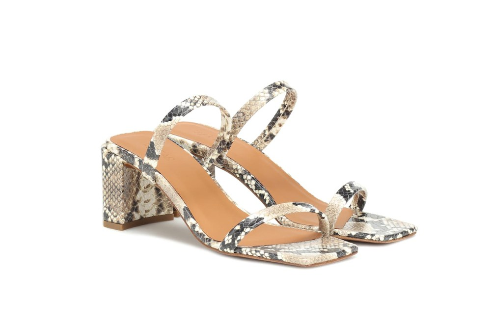 By Far Tanya Snake-Effect Leather Sandals