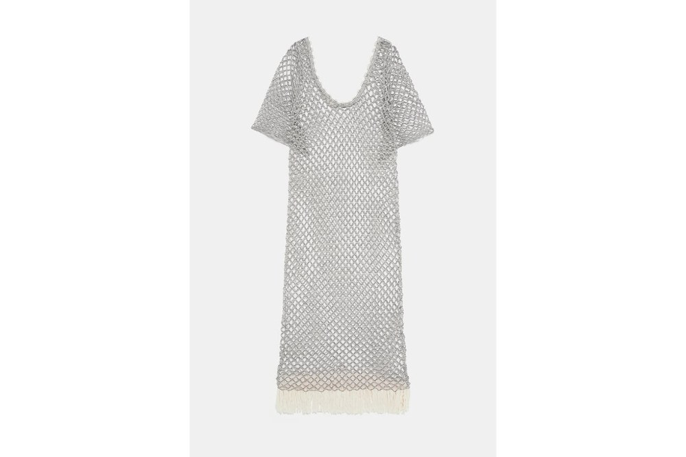 Zara Textured Knit Tunic With Shimmer