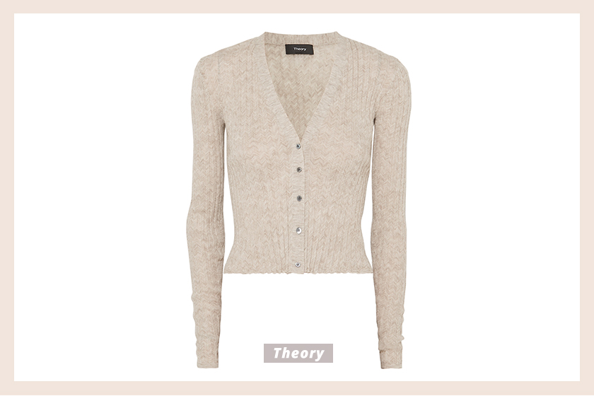 Theory Ribbed mélange alpaca-blend cardigan
