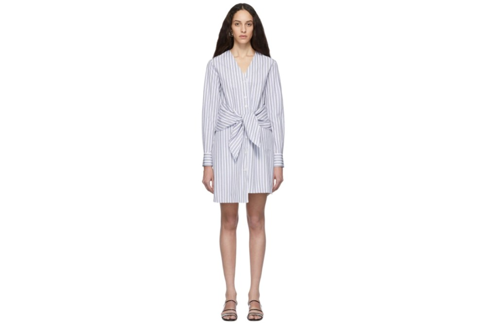 Tibi Blue & White Stripe Liam V-Neck Shirt Dress