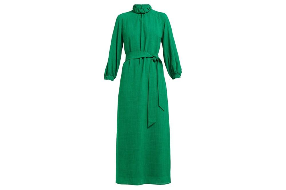 Cefinn Tie-Waist High-Neck Voile Midi Dress