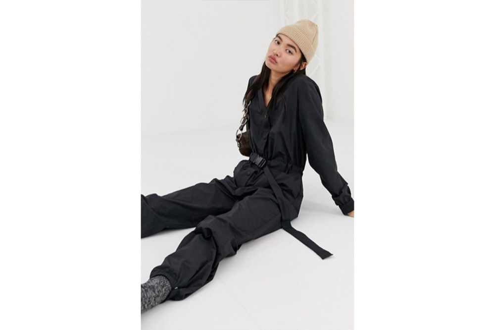 Weekday Sporty Jumpsuit with Belt in Black