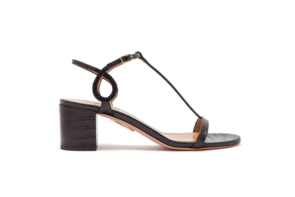 Almost Bare Crocodile-Effect Leather Sandals