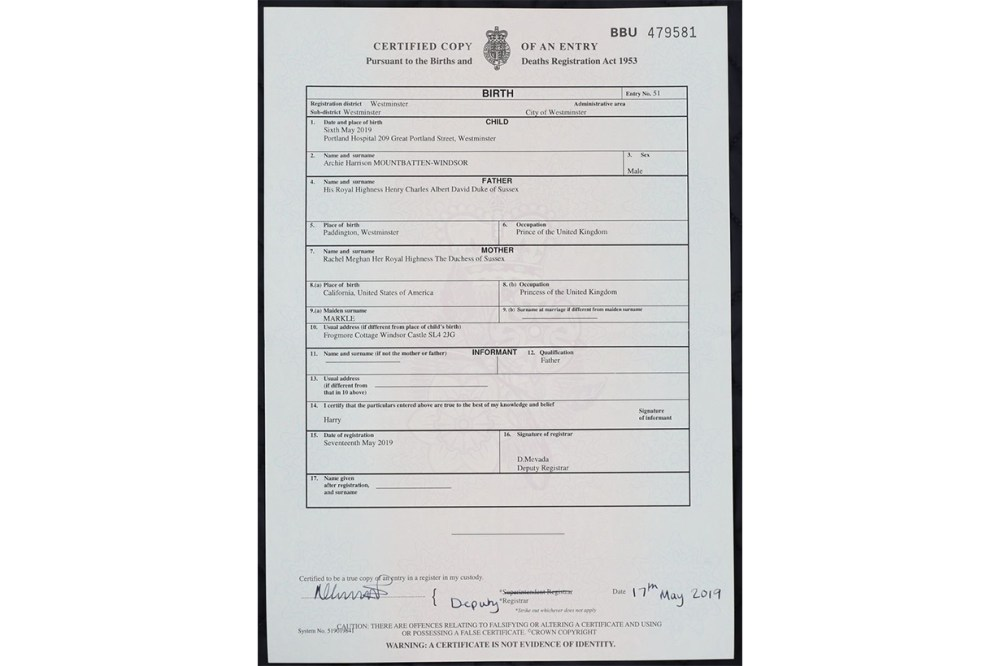 Archie Mountbatten-Windsor's birth certificate Meghan Markle Princess